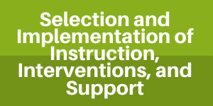 Implementation of Instruction, Interventions and Support